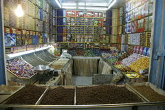 Night shot of a candy store in Al Hudaydah Royalty Free Stock Photography
