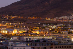 Night shot of Cape Town towards Table Mountain Stock Photography