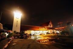 Night shot, chiangmai train station. Old building Royalty Free Stock Photography