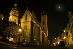 Night shot church in Hradec Kralove Street Royalty Free Stock Photo