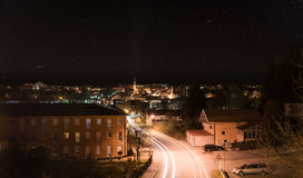 Night shot of the city Grafenau in the bavarian forest.  royalty free stock image
