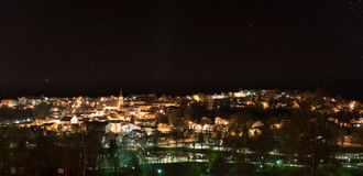 Night shot of the city Grafenau in the bavarian forest.  stock photo