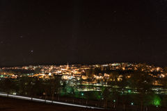 Night shot of the city Grafenau in the bavarian forest.  royalty free stock photo