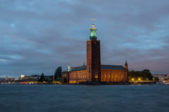 Night shot of city hall in Stockholm Stock Image