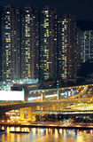 Night shot of a city skyline. In HK Royalty Free Stock Image