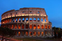 Night shot of colosseum in Rome Stock Photo