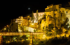 Night shot of Cuenca in Castilla-La Mancha, Spain Royalty Free Stock Photos