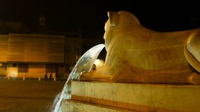 Night shot of a detail of the lion who spits water from his mouth in one of the most beautiful squares in Rome, Piazza stock video