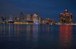 Detroit Panoramic Skyline Shot At night  November 2017. Night shot of the detroit skyline shot from canada showing city lights Stock Photography