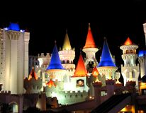 Night shot of Excalibur hotel, Las Vegas Royalty Free Stock Photos