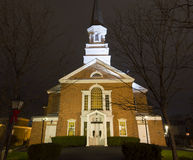 Night shot of First Presbyterian Church. In Schenectady, New York Royalty Free Stock Image