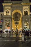 Milan Luxuous shopping mall. Night shot of the hall of the landmark arcade or covered mall, Galleria Vittorio Emanuele II in Milan, Italy . Entrance to the Stock Photography