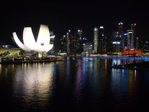 Night shot of the harbor view of the Marina Bay Sands in Singapore. Stock Photo