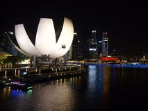 Night shot of the harbor view of the Marina Bay Sands in Singapore. Royalty Free Stock Images