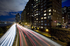 Night shot of a highway. Night shot of FDR highway New York City. Shot from upper east side, looking south Stock Photo