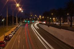 Night Shot Highway in Melbourne royalty free stock images