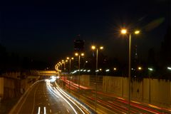 Night shot of highway road long exposure Stock Photography