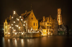 Night shot of historic medieval buildings in Bruges, Belgium Royalty Free Stock Images