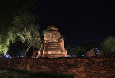 Night shot of incomplete small stupa beside the wall in the ruins of ancient remains. Night shot of incomplete small stupa beside the wall in the ruins of stock image