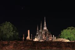 Night shot of incomplete small stupa beside the wall in the ruins of ancient remains at Wat Phra Si Sanphet temple. Night shot of incomplete small stupa beside royalty free stock images