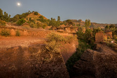 Night shot of Lalibela houses Stock Photo