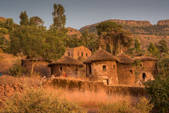 Night shot of Lalibela houses Royalty Free Stock Photo