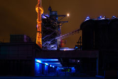 Night shot of Landschaftspark Nord, old illuminated industrial ruins in Duisburg, Germany Royalty Free Stock Images