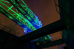 Night shot of Landschaftspark Nord, old illuminated industrial ruins in Duisburg, Germany Royalty Free Stock Image