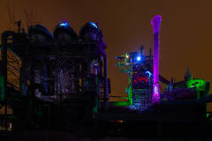 Night shot of Landschaftspark Nord, old illuminated industrial ruins in Duisburg, Germany Stock Photography