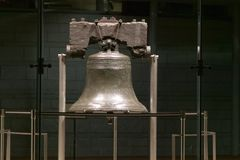 Night shot of Liberty Bell, at Liberty Bell Center, in Historic District of Philadelphia, Pennsylvania Royalty Free Stock Photo