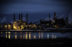 Steel Plant Night Long Exposure Stock Image