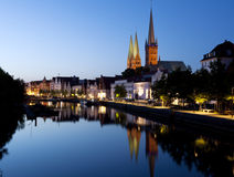 Night shot of Lubeck old town Royalty Free Stock Photography