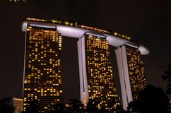 Night shot of Marina Bay Sands integrated resort with SkyPark Singapore Royalty Free Stock Image