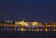 Night shot of Maritime Museum Amsterdam Royalty Free Stock Images