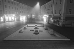Night shot of the memorial of the Synagogue in Regensburg Stock Image