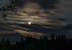 Night shot of the moon in the clouds stock photography