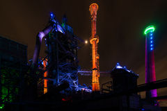 Free Night Shot Of Landschaftspark Nord, Old Illuminated Industrial Ruins In Duisburg, Germany Stock Photography - 75926372