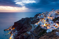 Night shot Oia Santorini Greece Stock Photo