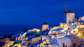 Night shot Oia Santorini Greece Stock Photography
