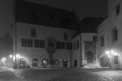 Night shot of the old city hall in Regensburg with fog Stock Images