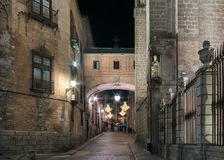 Night shot of the old town and cathedral of Toledo stock images