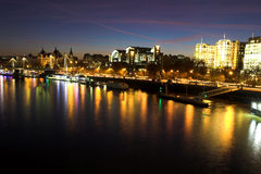 Night shot over the Thames. Shot of sun setting over the Thames royalty free stock photos