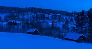 A night shot of Petiknas.The winter in swedish Lapland Royalty Free Stock Photo