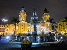Night shot Plaza de Armas, Lima Peru Stock Photo