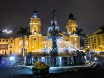 Night shot Plaza de Armas, Lima Peru. Lima - capital of Peru, main squer in town Archbishop's Palace balcony in Plaza de Armas, Lima, Peru, side view stock photo