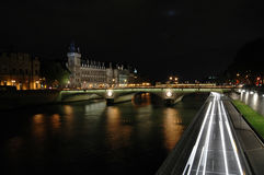 Night shot of The Pont au Change, Paris Stock Image
