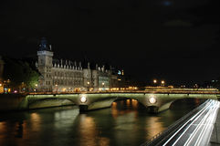 Night shot of The Pont au Change, Paris Stock Images