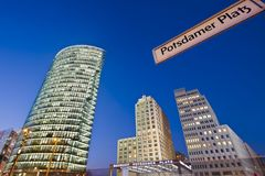 Potsdamer Platz, Berlin. Night shot at Potsdamer Platz in Berlin with a street sign Stock Photo