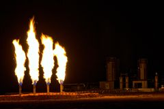 Night Shot of Quad Flare after a Frack Job Royalty Free Stock Photography