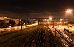 Night shot on railroad Stock Photography